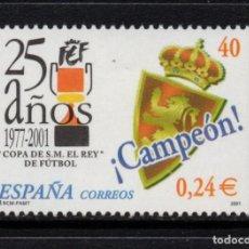 Sellos: ESPAÑA 3805** - AÑO 2001 - 25º ANIVERSARIO DE LA COPA DEL REY DE FUTBOL - REAL ZARAGOZA CAMPEON. Lote 112843851
