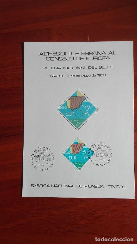 TARJETA ADHESIÓN DE ESPAÑA AL CONSEJO DE EUROPA 1978 (Sellos - España - Juan Carlos I - Desde 1.986 a 1.999 - Cartas)