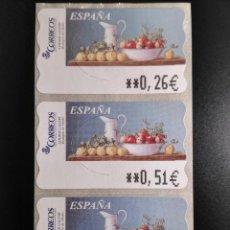 Selos: ATM 101 - NUEVO - ESPAÑA 2003 - SERIE 3 VALORES - SAMMER GALLERY BODEGON OTOÑO. Lote 82904788