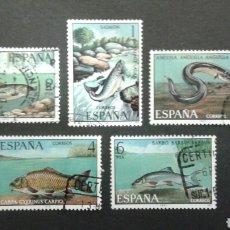 Sellos: SELLOS DE ESPAÑA. EDIFIL 2403/07. SERIE COMPLETA USADA 1977. FAUNA. PECES. Lote 83449476