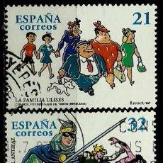 Sellos: ESPAÑA 1997- EDI 3486/87 (COMICS: LA FAMILIA ULISES Y EL GUERRERO DEL ANTIFAZ) USADOS. Lote 187116152