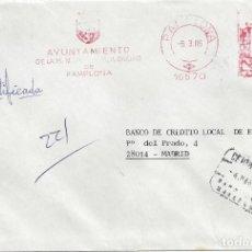 Sellos: CARTA FRANQUEO MECANICO AYUNTAMIENTO PAMPLONA NAVARRA A MADRID. Lote 85212944