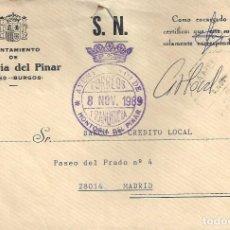 Sellos: CARTA MATASELLO AMBULANTE HONTORIA DEL PINAR BURGOS A MADRID SORIA?. Lote 85213708