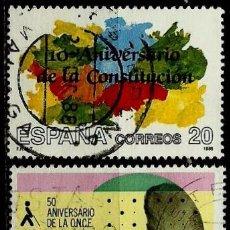 Sellos: ESPAÑA 1988- EDI 2982-85 (SERIES: ANIV. CONSTITUCION-O.N.C.E.) USADOS. Lote 120453082