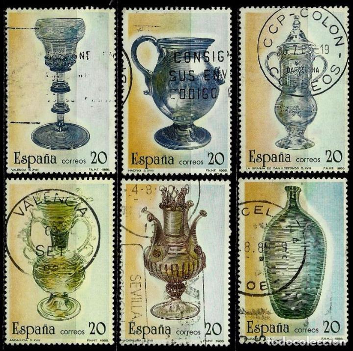 ESPAÑA 1988- EDI 2941/46 (SERIE: ARTESANIA DEL VIDRIO) USADOS (Sellos - España - Juan Carlos I - Desde 1.986 a 1.999 - Usados)
