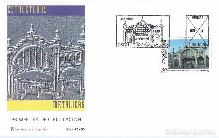 EDIFIL 3444 ESTRUCTURAS METÁLICAS. MERCADO CENTRAL ZARAGOZA. SOBRE PRIMER DÍA 05-07-1996. (Sellos - España - Juan Carlos I - Desde 1.986 a 1.999 - Nuevos)