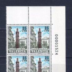 Sellos: EDIFIL 9. VALENCIA.TORRE DE SANTA CATALINA. PLAN SUR DE VALENCIA 1978. BLOQUE DE 4. MNH **. Lote 95104183