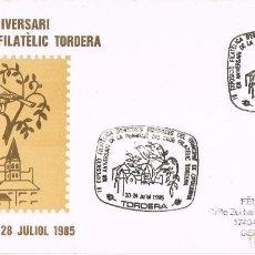 Sellos: 0366. CARTA EXPOSICION TORDERA (BARCELONA) 1985. ANIVERSARIO FUNDACION CLUB. Lote 95554911