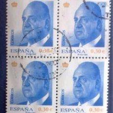 Sellos: ESPAÑA AÑO 2007, 13 ENERO. S.M. DON JUAN CARLOS I 30CTM€, BLOQUE DE 4 USADO . Lote 95891139