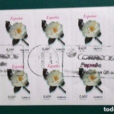 Sellos: ESPAÑA 2008, FLORA: CAMELIA. AUTOADHESIVOS. BANDA DE 10 SELLOS EN CARNET. 2008. SELLOS USADOS . Lote 95891751