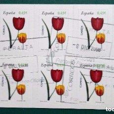 Sellos: ESPAÑA 2008: FLORA: TULIPÁN. ADHESIVOS. BANDA DE 10 SELLOS EN CARNET. 2008. SELLOS USADOS . Lote 95891915