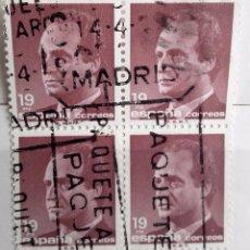 Sellos: ESPAÑA 1986, BLOQUE DE 4 DE 19 PTS, USADOSERIE BASICA, EL REY JUAN CARLOS I, . Lote 95939151