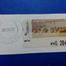 Sellos: ETIQUETAS ATM. BODEGON DEL SIFON. MATASELLO DE MUSQUIZ. VIZCAYA. 2005. 0,28 €. Lote 96022859