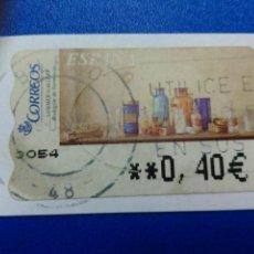 Sellos: ETIQUETAS ATM. BODEGON DE FARMACIA. MATASELLO DE BILBAO. VIZCAYA. 2002. 0,40 €. Lote 96023083