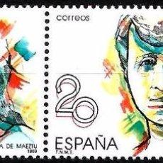 Sellos: EDIFIL 2089 MARÍA DE MAEZTU - PAREJA CON VARIEDAD - 2 FOTOS. Lote 97039787