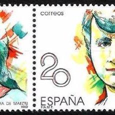 Sellos: EDIFIL 2089 MARÍA DE MAEZTU - PAREJA CON VARIEDAD - 2 FOTOS. Lote 97040023