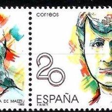 Sellos: EDIFIL 2089 MARÍA DE MAEZTU - PAREJA CON VARIEDAD - 2 FOTOS. Lote 97040147