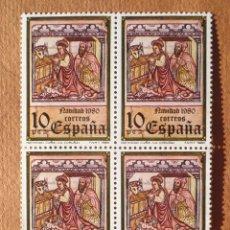 Sellos: 4 SELLOS BLOQUE 1980 NAVIDAD 10 PESETAS. Lote 98682207