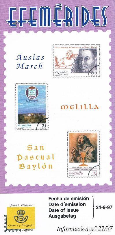 FOLLETO ESPAÑA 1997 22/97 (Sellos - España - Juan Carlos I - Desde 1.986 a 1.999 - Nuevos)