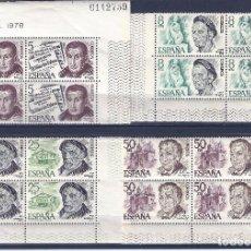 Sellos: EDIFIL 2456-2459 PERSONAJES ESPAÑOLES 1978 (SERIE COMPLETA EN BLOQUES DE 4). MNH **. Lote 99410419