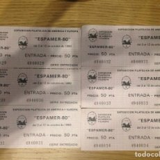 Sellos: 6 ENTRADAS NUEVAS, EXPO FILATELIA DE AMÉRCIA Y EUROPA ESPAMER'80 (CONSECUTIVAS). Lote 99420115