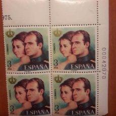 Sellos: REYES DE ESPAÑA. BLOQUE DE 4. AÑO 1975. Lote 99918915