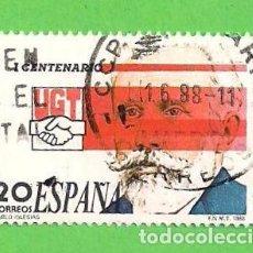 Sellos: EDIFIL 2948. I CENTENARIO DE LA UNIÓN GENERAL DE TRABAJADORES - PABLO IGLESIAS. (1988).. Lote 101109899