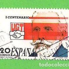 Sellos: EDIFIL 2948. I CENTENARIO DE LA UNIÓN GENERAL DE TRABAJADORES - PABLO IGLESIAS. (1988).. Lote 101109907