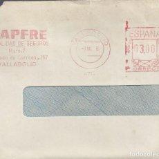 Sellos: CARTA MATASELLO FRANQUEO MECANICO MAPFRE VALLADOLID 1976. Lote 101119919