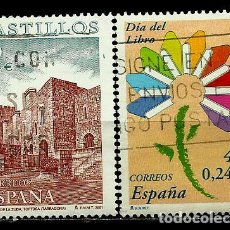 Sellos: ESPAÑA 2001- EDI 3785-89 (SELLOS-CASTILLOS-DIA DEL LIBRO) USADOS. Lote 101162610