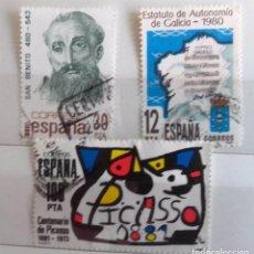 Sellos: ESPAÑA 1981, 3 SELLOS USADOS DIFERENTES . Lote 101198067