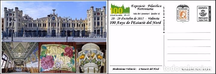 ESPAÑA, TARJETA COMMEMORATIVA PREPAGADA, 100º ESTACION DEL NORTE DE VALENCIA (Sellos - España - Juan Carlos I - Desde 2.000 - Cartas)