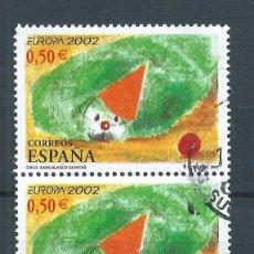 Sellos: R25/ ESPAÑA EDIFIL 3888 X2, USADOS, 2002, EUROPA. Lote 101543223