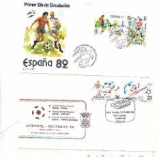 Sellos: ESPAÑA. CONJUNTO DE 3 POSTALES Y 3 SOBRES DE FUTBOL ESPAÑA 82. Lote 104051635