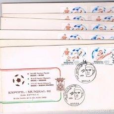 Sellos: ESPAÑA. CONJUNTO DE 9 SOBRES MUNDIAL DE FUTBOL ESPAÑA 82. Lote 104137295