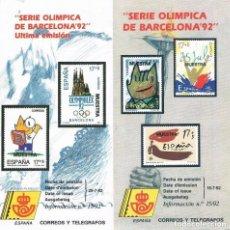 Sellos: ESPAÑA 1992 7 FOLLETOS DE 1992 DE BARCELONA Y MADRID SERIE OLIMPICA Y PARAOLIMPICA. Lote 104311095