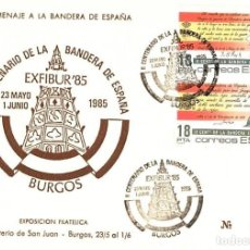 Sellos: 1985 TARJETA CON MATASELLOS BURGOS HOMENAJE BANDERA ESPAÑOLA. Lote 104344883