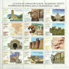 Sellos: HOJA BLOQUE 2001 CON 12 SELLOS DE 0,24 EUROS PARA FRANQUEO O COLECCIONISMO. 30% DESCUENTO. Lote 105846160
