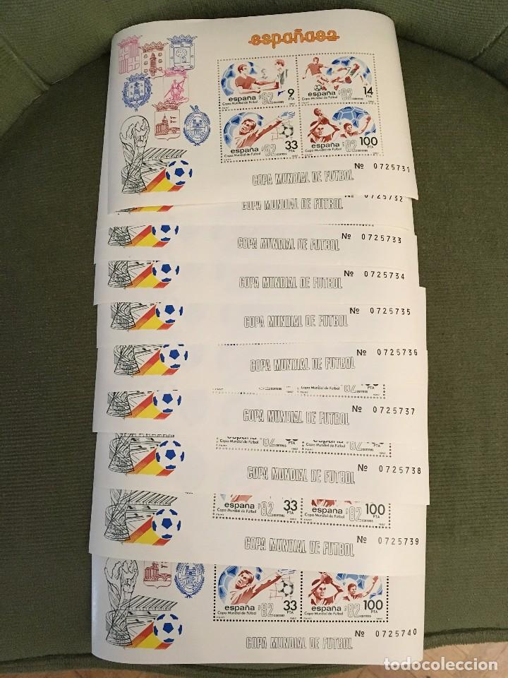 SELLO COPA MUNDIAL DE FUTBOL ESPAÑA 82 - 10 HOJITAS CONSECUTIVAS HOJA BLOQUE - EDIFIL 1982 (Sellos - España - Juan Carlos I - Desde 1.975 a 1.985 - Nuevos)