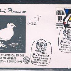 Sellos: ESPAÑA. SOBRE CON SELLO DE 100 PTAS DE PICASSO CON PERFORACIÓN Y MATASELLO ESPECIAL. Lote 105166131