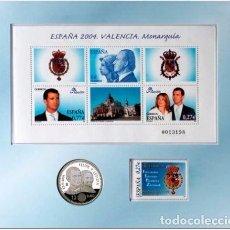 Sellos: ESPAÑA 2004 VALENCIA MONARQUIA SET DE HB, SELLO, MONEDA OFICIAL DE PLATA A FACIAL ED HB4087 YV BF137. Lote 180087036