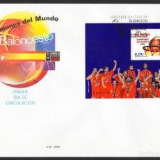 Sellos: ESPAÑA 2005 EDIFIL 4267 SOBRE - PD. CAMPEONES DEL MUNDO DE BALONCESTO EXISTENCIAS - 2. Lote 107428154