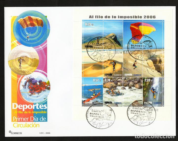 ESPAÑA 2006 EDIFIL 4224 SOBRE - PD. DEPORTES. AL FILO DE LO IMPOSIBLE (Sellos - España - Juan Carlos I - Desde 2.000 - Cartas)