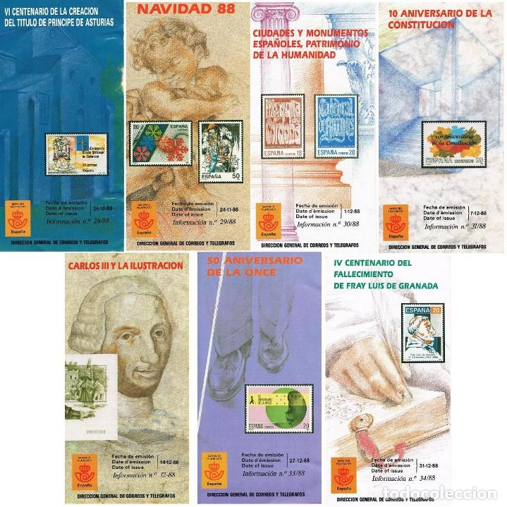 ESPAÑA 1988 FOLLETOS CORRELATIVOS 28/88 AL 34/88 7 FOLLETOS (Sellos - España - Juan Carlos I - Desde 1.986 a 1.999 - Nuevos)