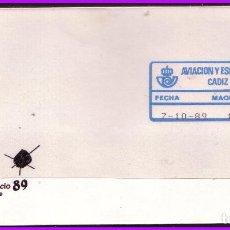 Sellos: 1989 AVIACIÓN Y ESPACIO, CÁDIZ, SOBRE CON ETIQUETA ADHESIVA Nº 22A. Lote 108792919