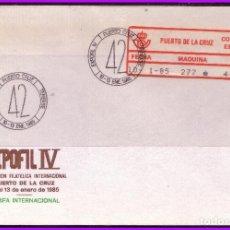 Sellos: 1986 EXPOFIL IV, PUERTO DE LA CRUZ, SOBRE CON ETIQUETA ADHESIVA Nº 3B. Lote 108793151