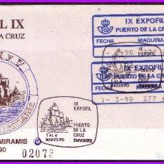 Sellos: 1990 EXPOFIL IX, PUERTO DE LA CRUZ, SOBRE CON ETIQUETA ADHESIVA Nº 26A Y 26B. Lote 108793435