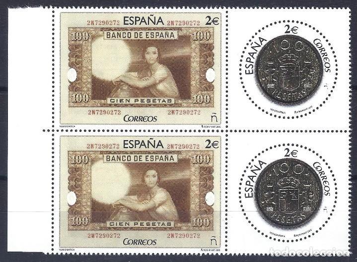 EDIFIL 5010-5011. NUMISMÁTICA. BILLETE Y MONEDA DE 100 PESETAS. AÑO 2015 (2 SERIES). MNH ** (Sellos - España - Juan Carlos I - Desde 2.000 - Nuevos)