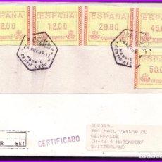 Sellos: 1989 ETIQUETAS FRAMA 8, 12, 20, 25 Y 50 PTAS, CERTIFICADO A SUIZA. Lote 109082919
