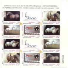 Sellos: CABALLOS CARTUJANOS EXPOSICION MUNDIAL DE FILATELIA ESPAÑA 2000 ED.3679 AL 3684A MP67. Lote 109498799